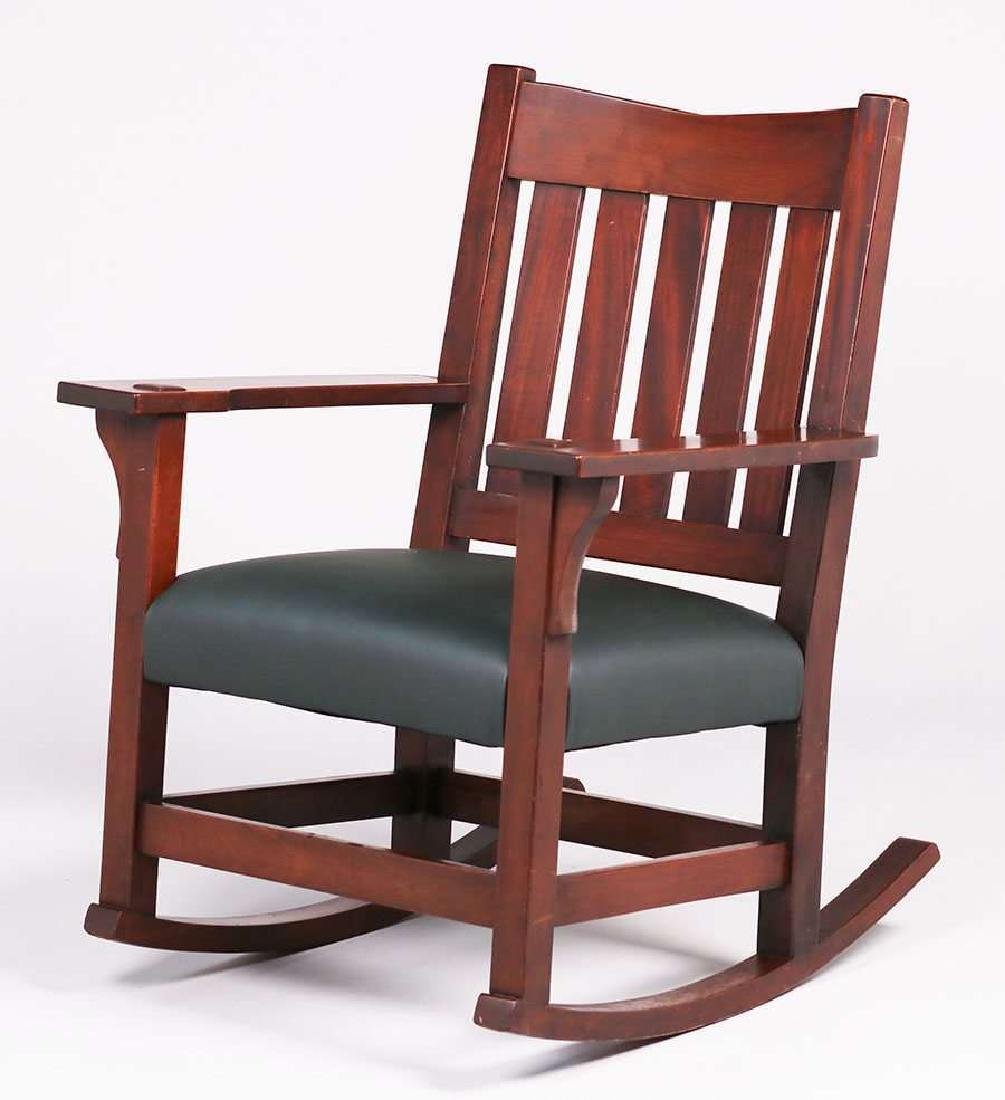 Gustav Stickley V-back Mahogany Rocker.