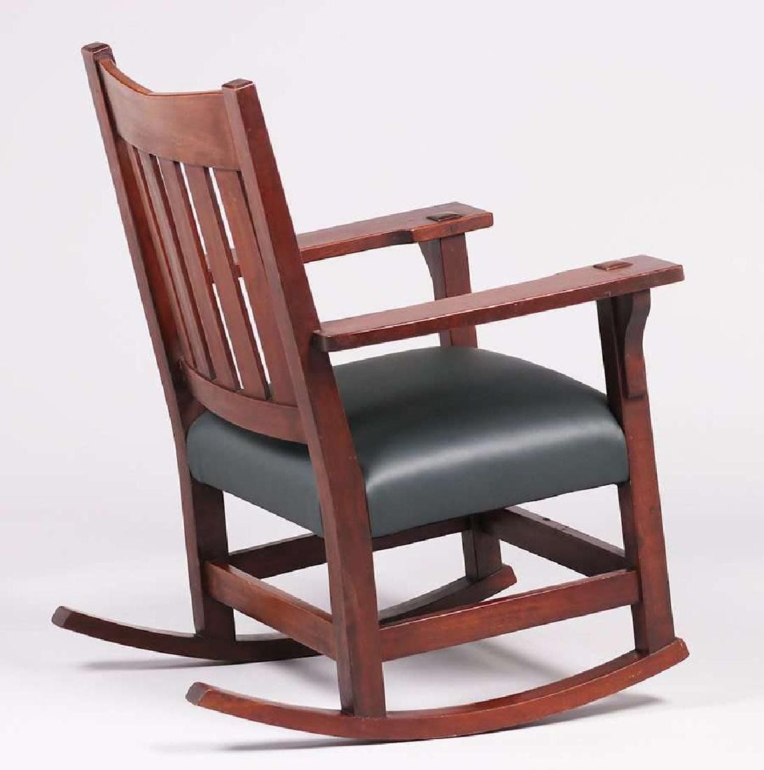 Gustav Stickley V-back Mahogany Rocker. - 2