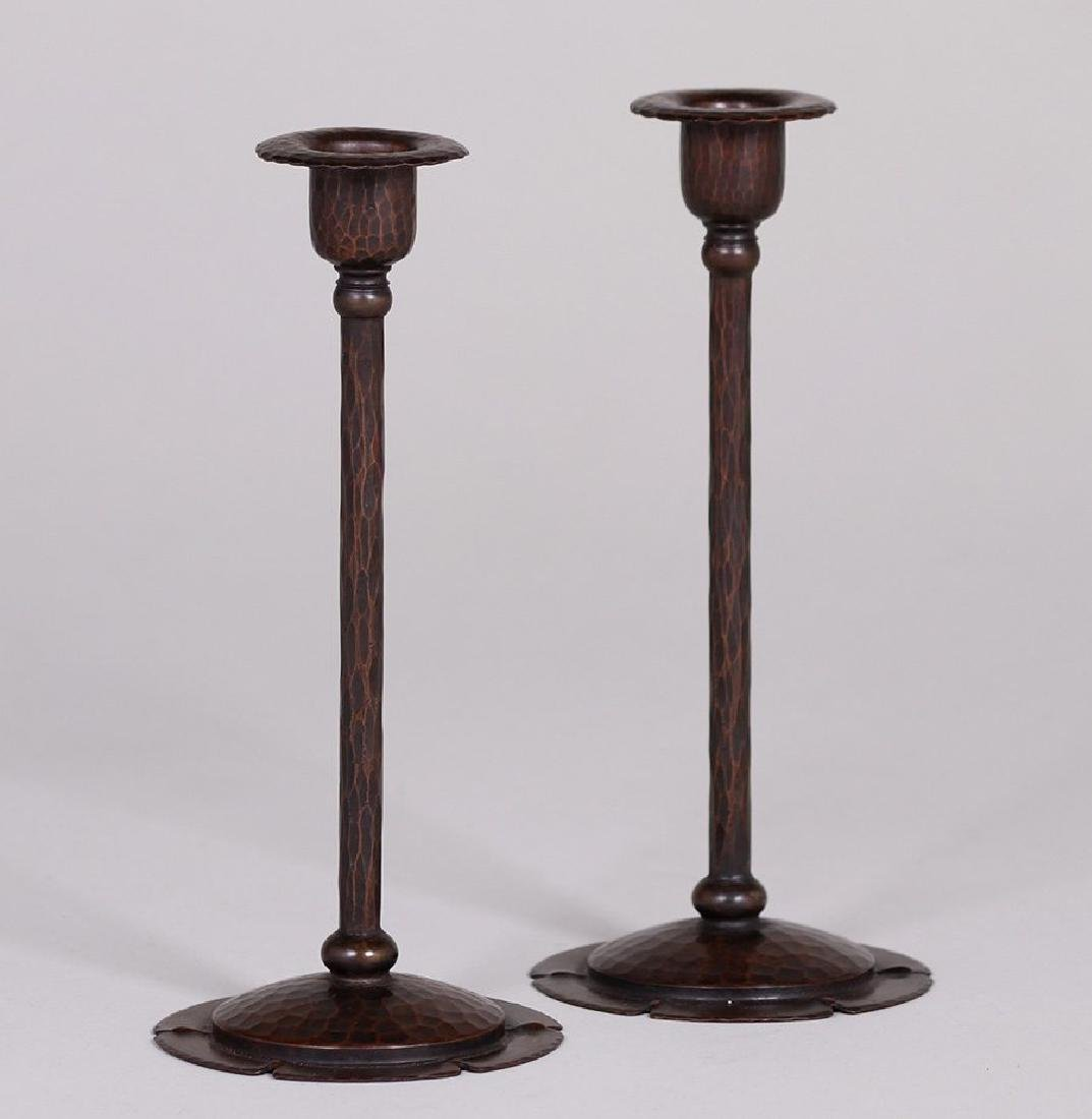 Pair of Roycroft Hammered Copper Candlesticks