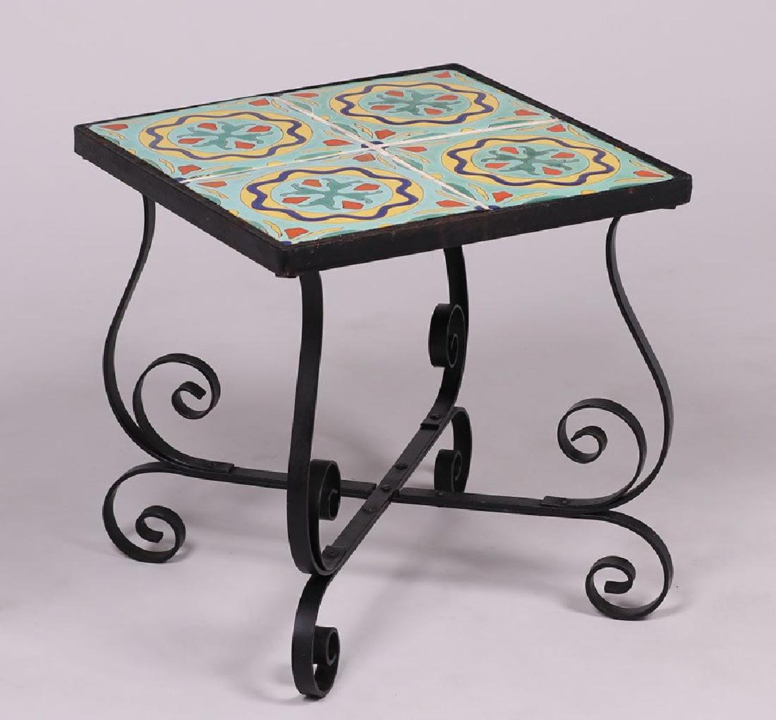 Spanish Revival Iron Tile-top Table