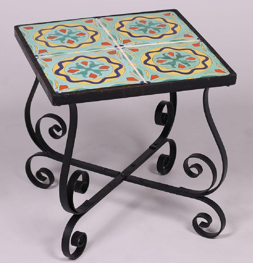 Spanish Revival Iron Tile-top Table - 2