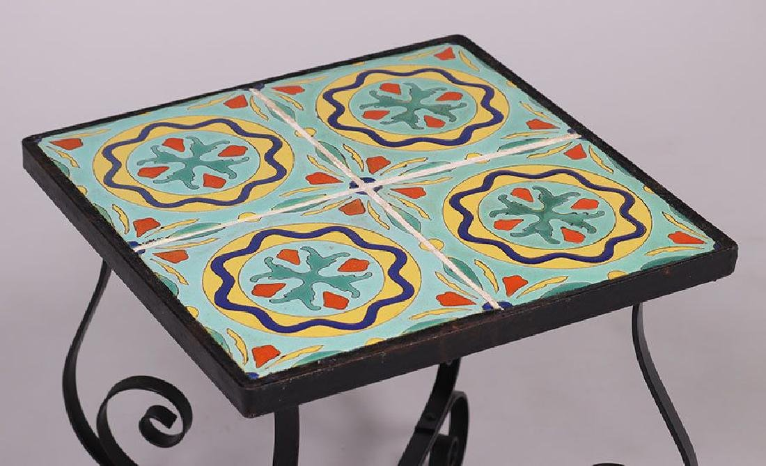 Spanish Revival Iron Tile-top Table - 3