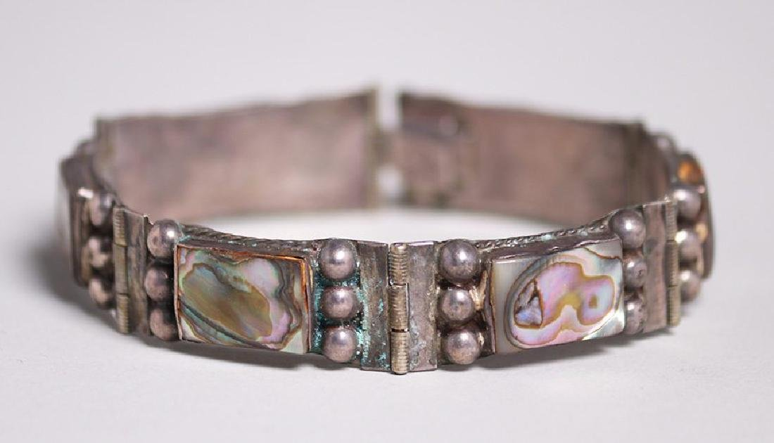 Vintage Mexican Sterling Silver and Abalone Bracelet