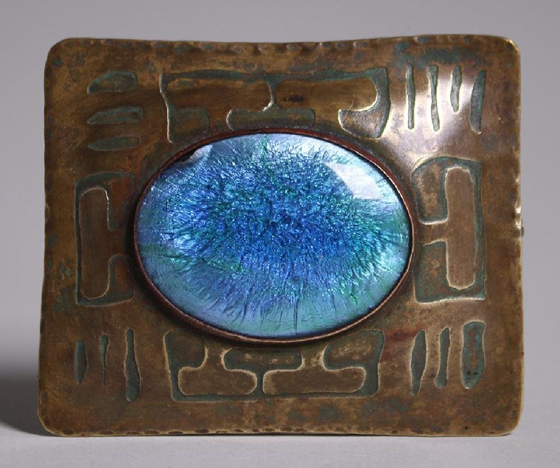 Forest Craft Guild Hammered Brass Acid-etched Brooch