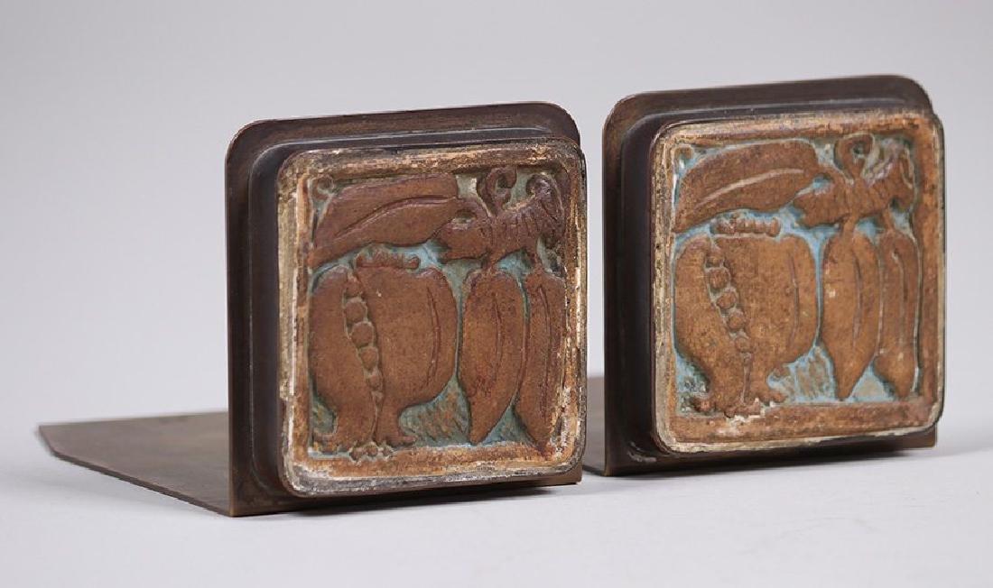 Potter Studio Brass Bookends w/ Inset Batchelder Tiles