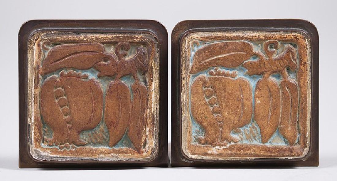 Potter Studio Brass Bookends w/ Inset Batchelder Tiles - 2