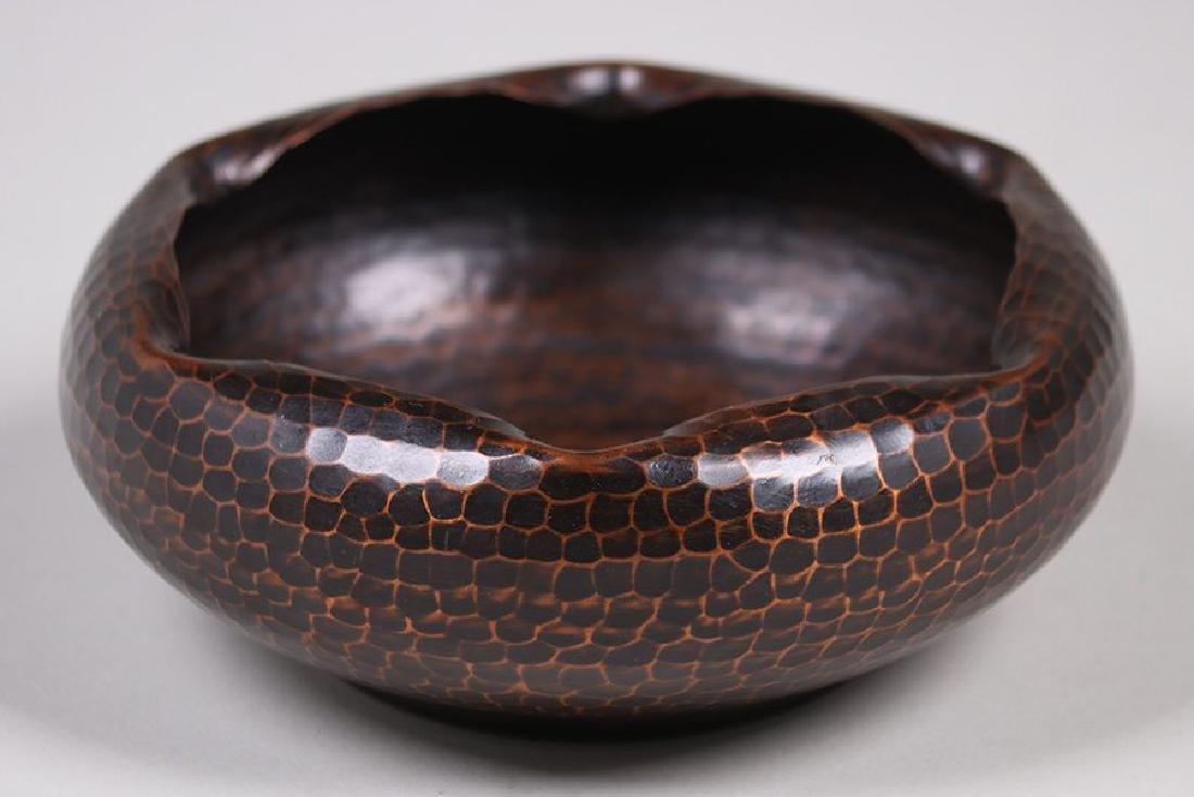 Roycroft Hammered Copper Bowl with Ruffled Rim - 2