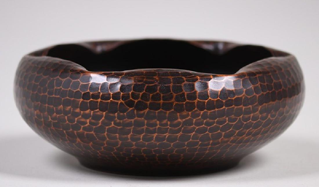 Roycroft Hammered Copper Bowl with Ruffled Rim - 3
