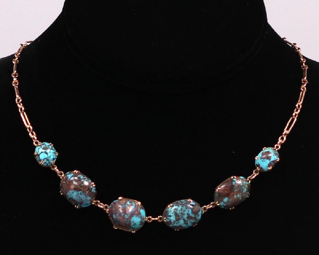 Arts & Crafts 14k Gold and Turquoise Necklace