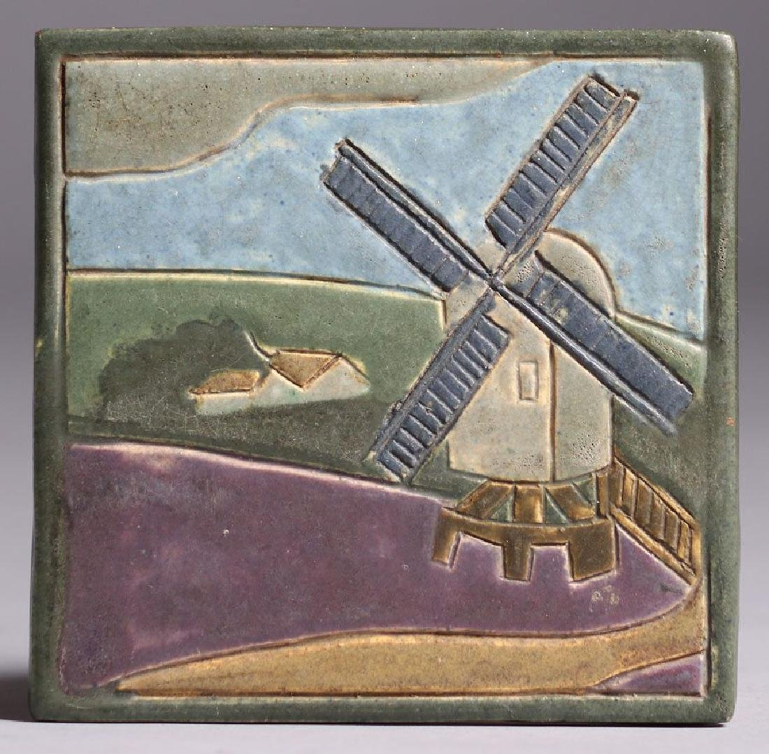 Arts & Crafts Studio Hand-carved Windmill Tile