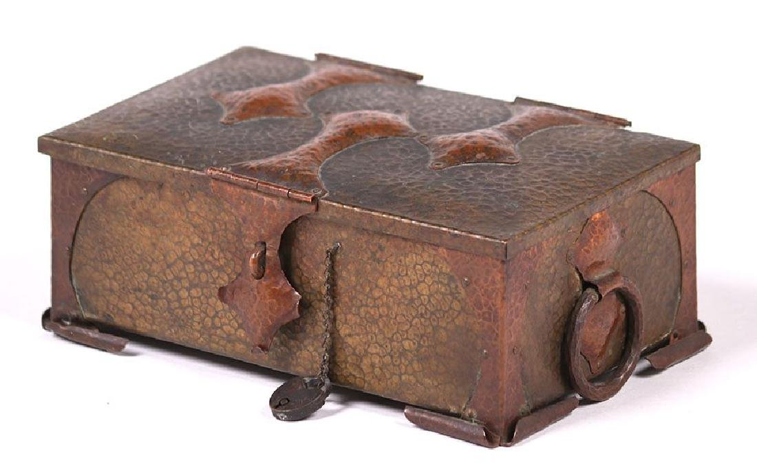 Arts & Crafts Hammered Copper and Brass Box