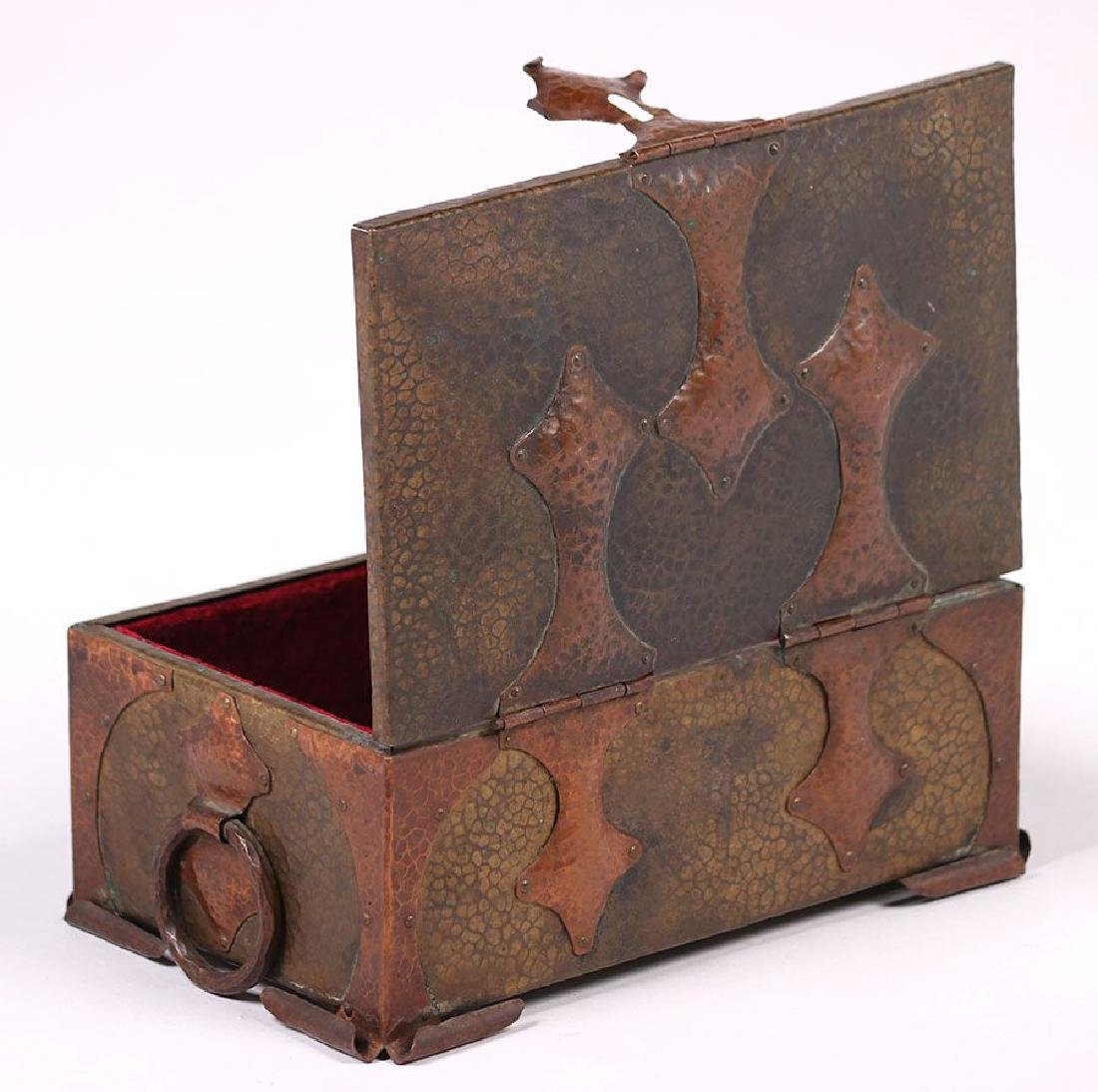 Arts & Crafts Hammered Copper and Brass Box - 2