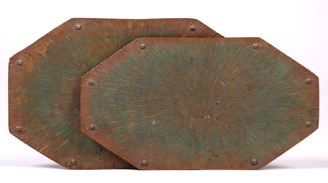 ETC Fish Radial Hammered Copper Trivets - lot of 2