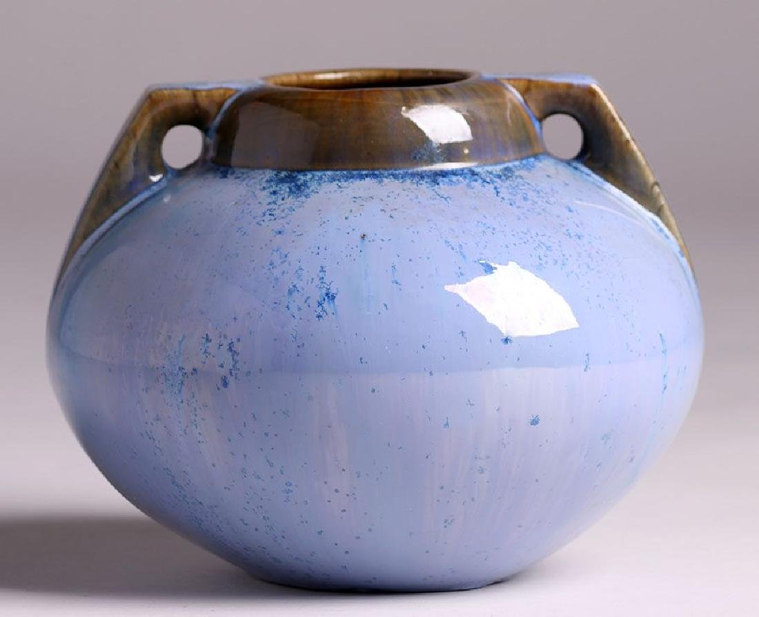 Fulper Pottery Two-handled Blue Crystalline Vase