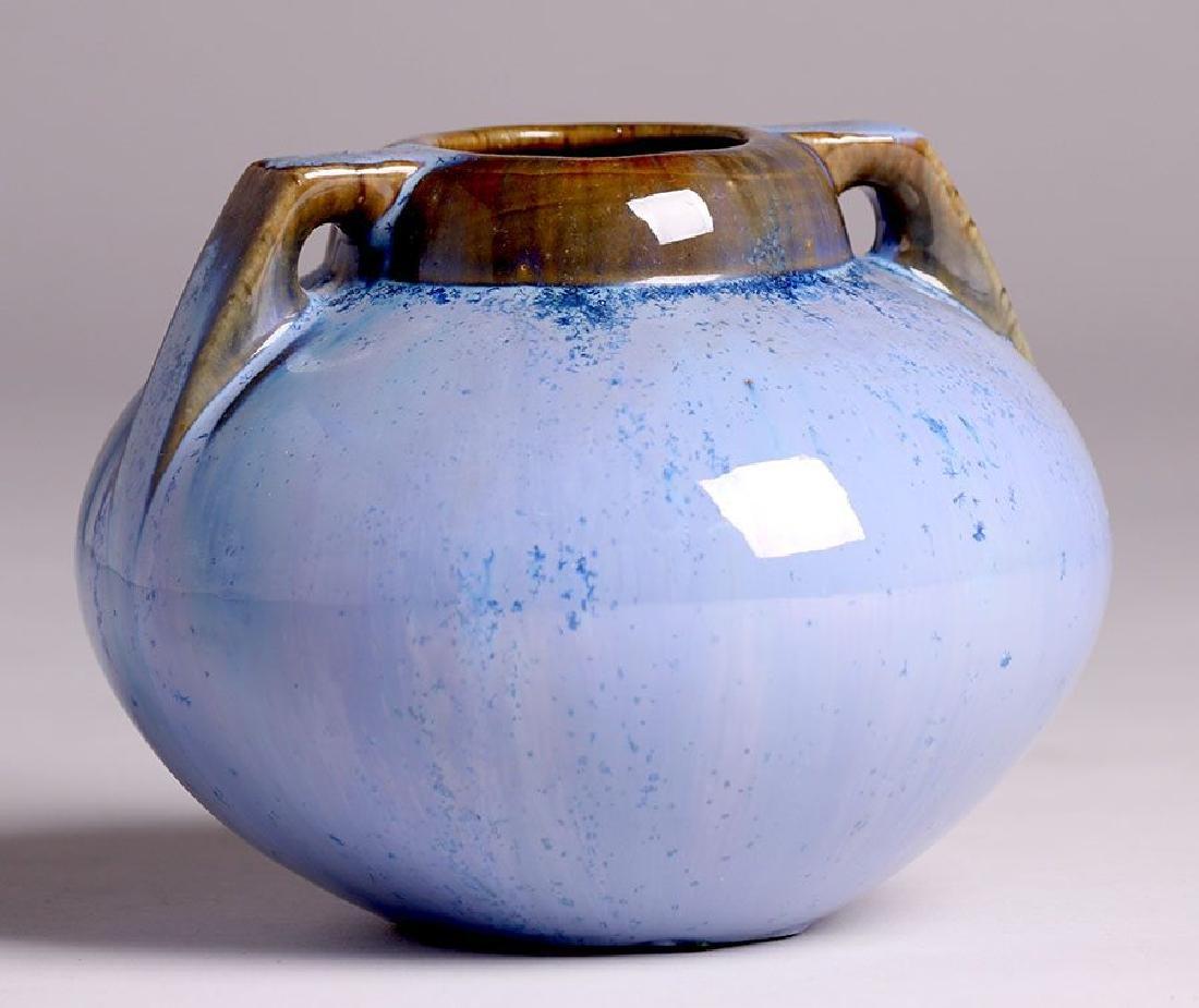 Fulper Pottery Two-handled Blue Crystalline Vase - 2