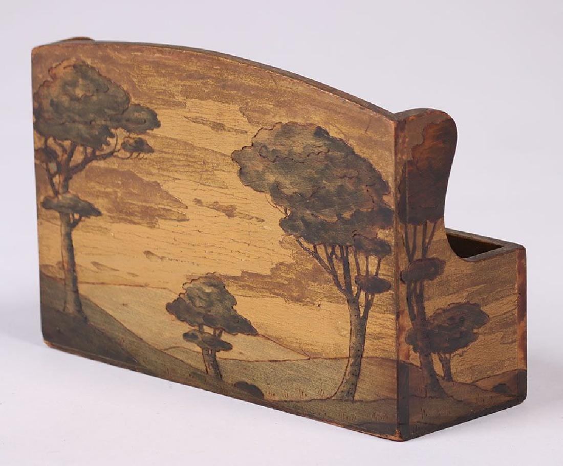 Arthur Grinnell Letter Rack w/ Pyrography - 2