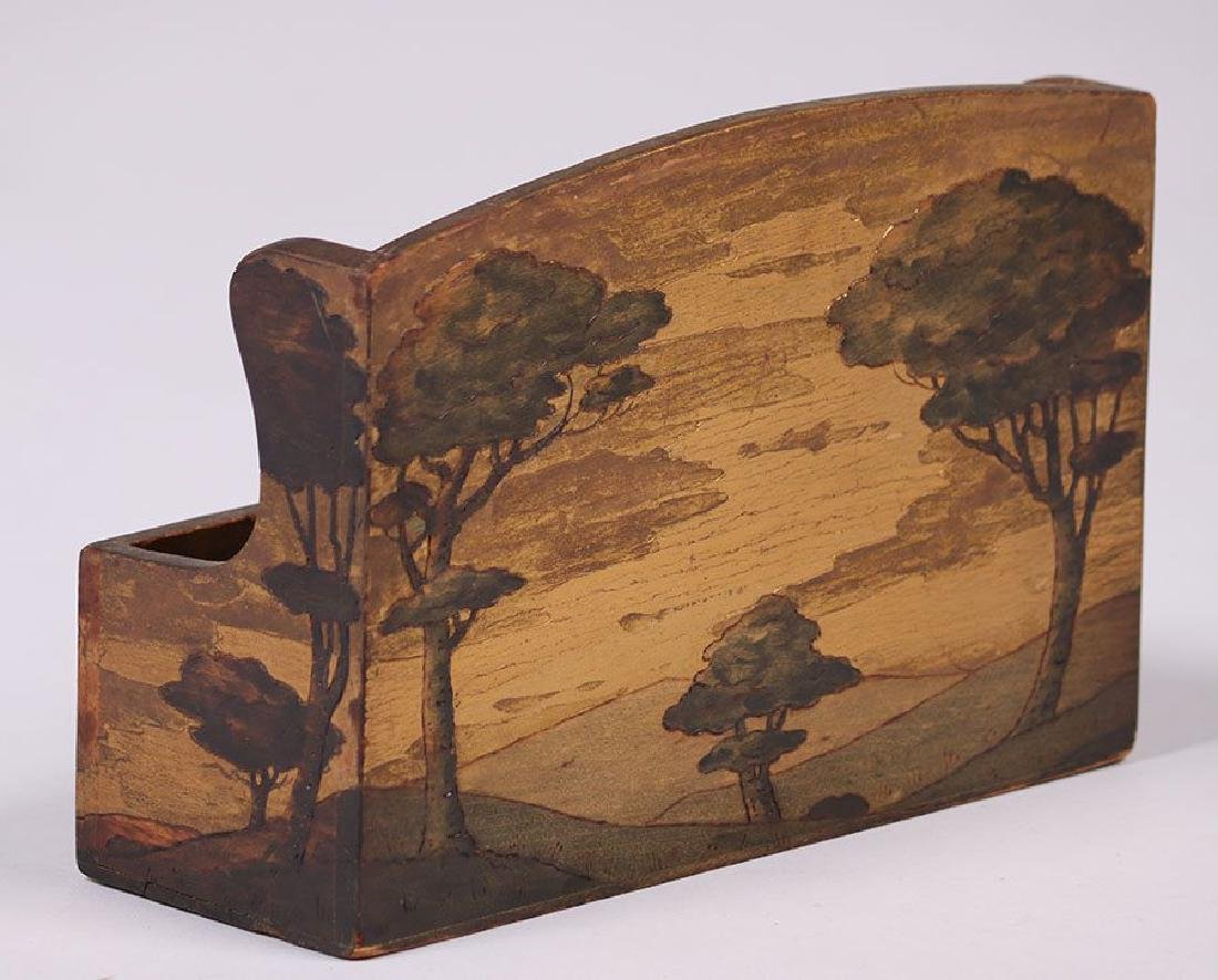 Arthur Grinnell Letter Rack w/ Pyrography - 4
