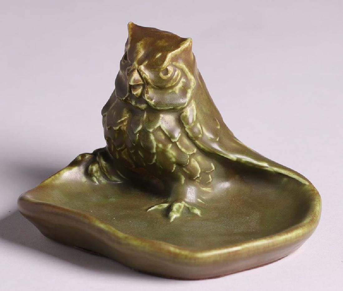 Rookwood Green Figural Owl Tray Dated 1931 - 2