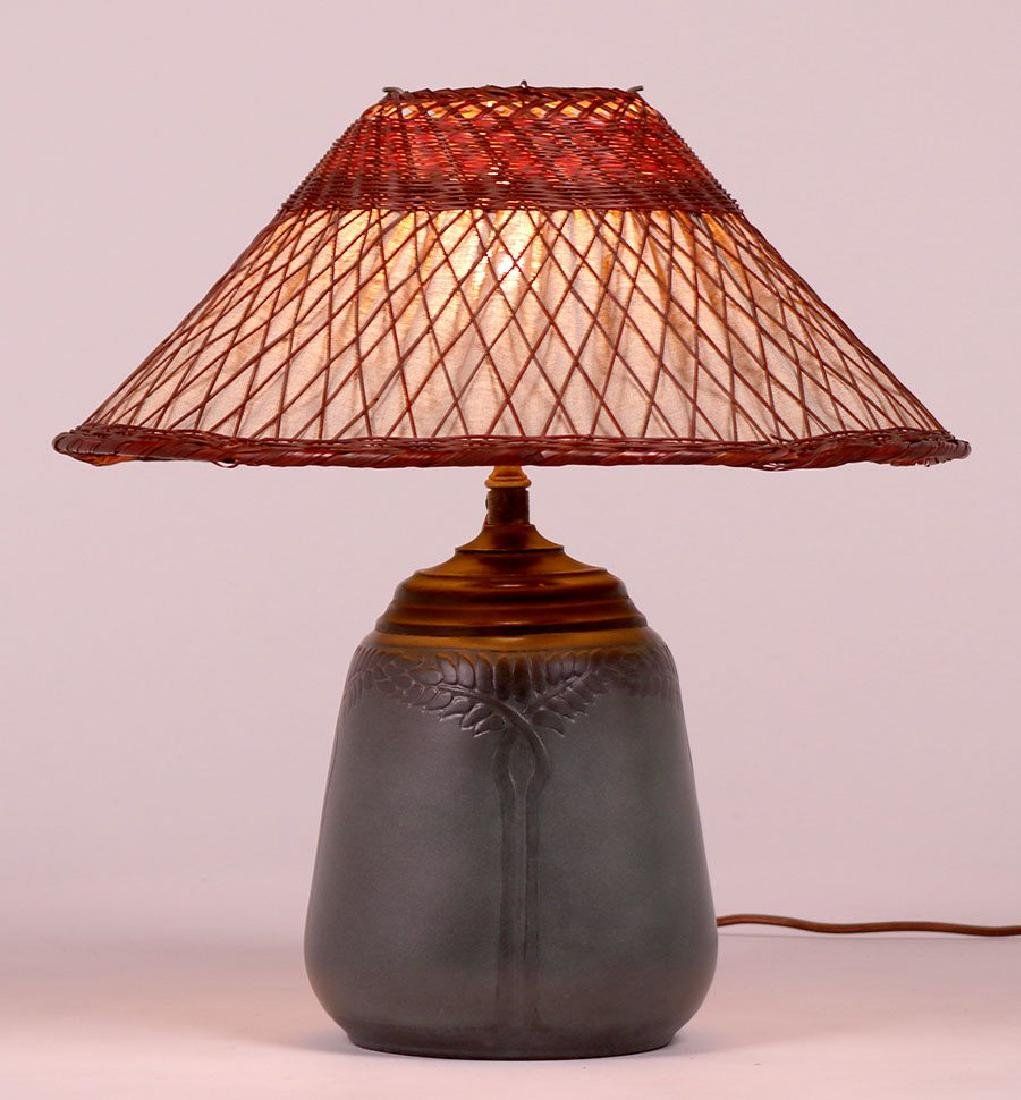Marblehead Pottery Lamp Signed by Hannah Tutt