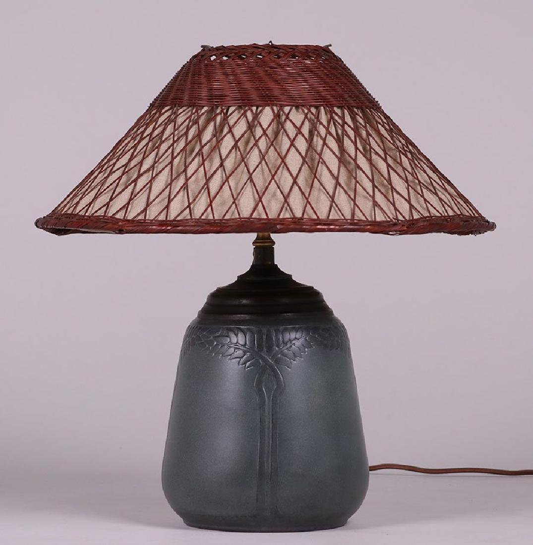 Marblehead Pottery Lamp Signed by Hannah Tutt - 2