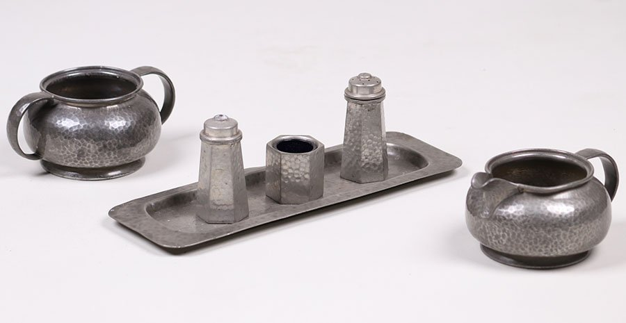 Liberty & Co Hammered Pewter 6pc Sugar & Creamer Set
