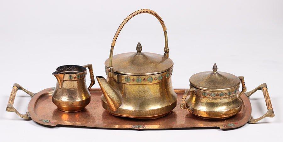 WMF Hammered Brass Tea Set c1910