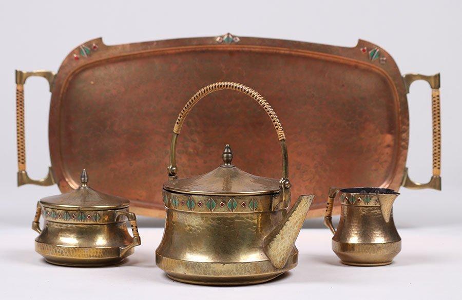 WMF Hammered Brass Tea Set c1910 - 2