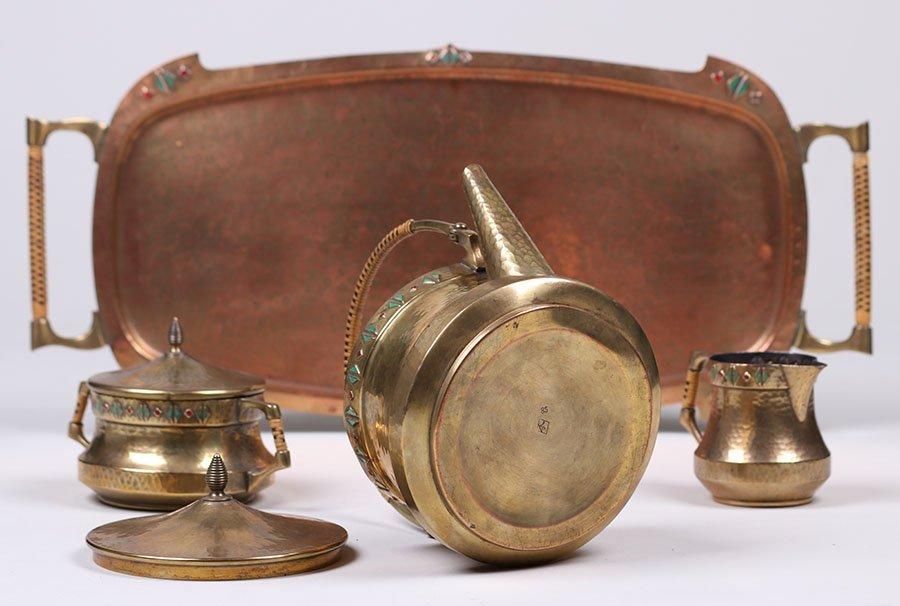 WMF Hammered Brass Tea Set c1910 - 3