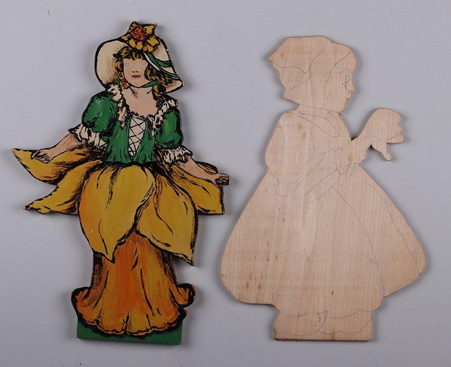 Lot of 2 Dutch Arts & Crafts Hand-cut Wooden Figures