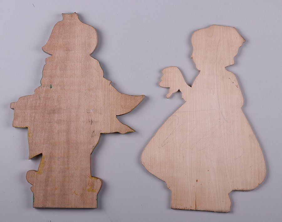 Lot of 2 Dutch Arts & Crafts Hand-cut Wooden Figures - 2