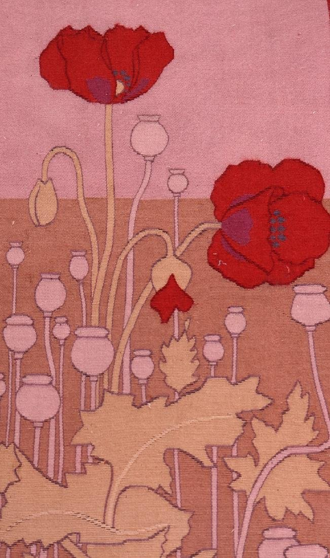 Arts & Crafts Hand-Woven Poppies Tapestry c1910