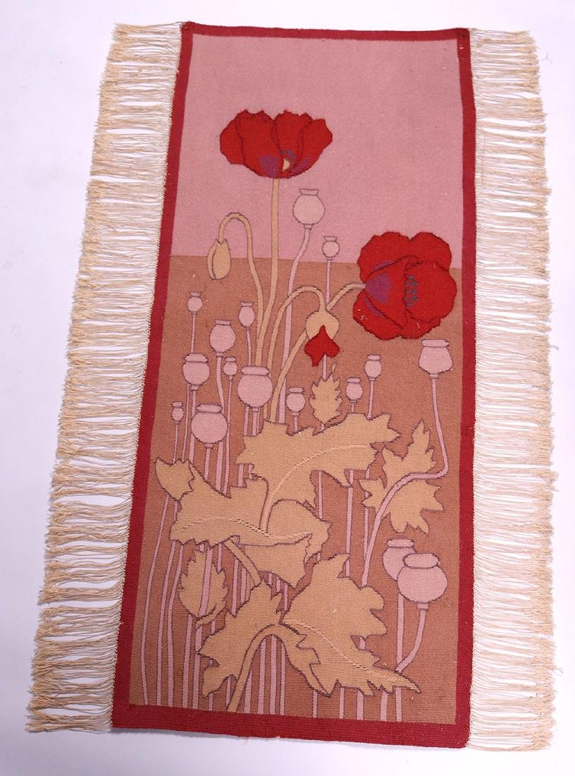 Arts & Crafts Hand-Woven Poppies Tapestry c1910 - 2