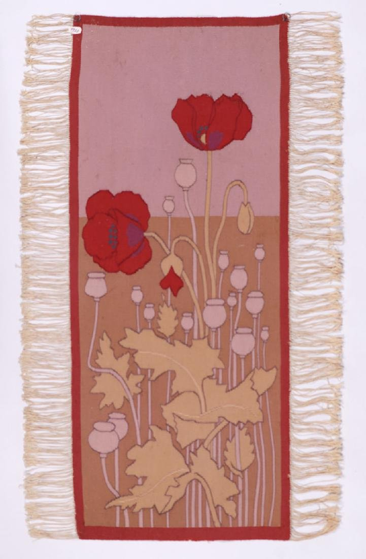 Arts & Crafts Hand-Woven Poppies Tapestry c1910 - 3
