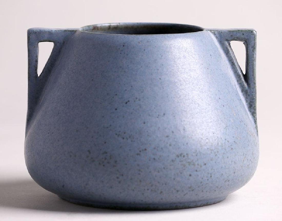 Fulper Pottery Two-Handled Matte Blue Vase