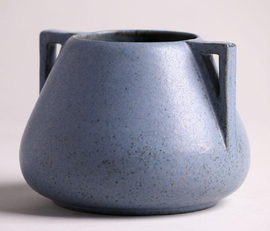 Fulper Pottery Two-Handled Matte Blue Vase - 2