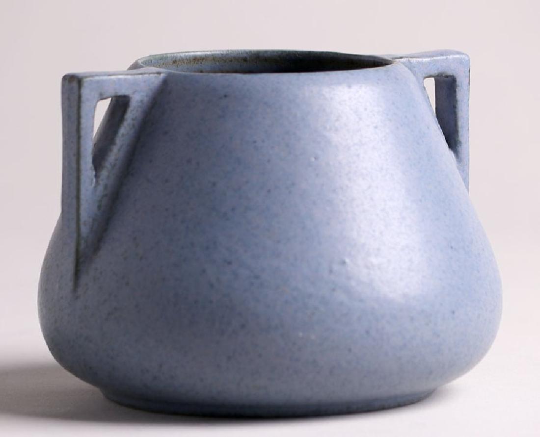 Fulper Pottery Two-Handled Matte Blue Vase - 3