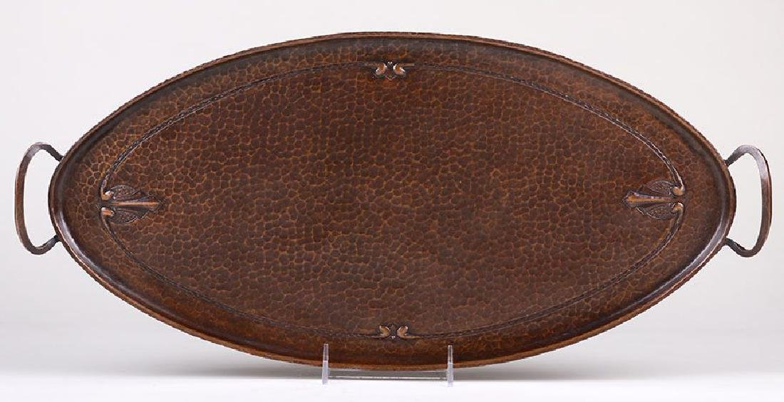 Large Roycroft Hammered Copper Two-Handled Oval Tray