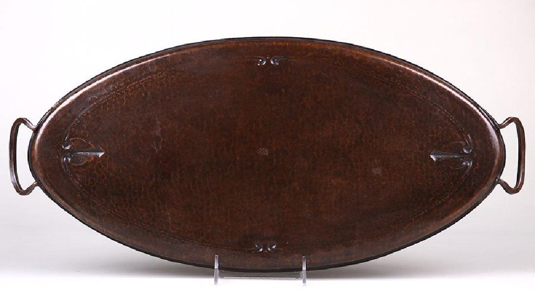 Large Roycroft Hammered Copper Two-Handled Oval Tray - 2