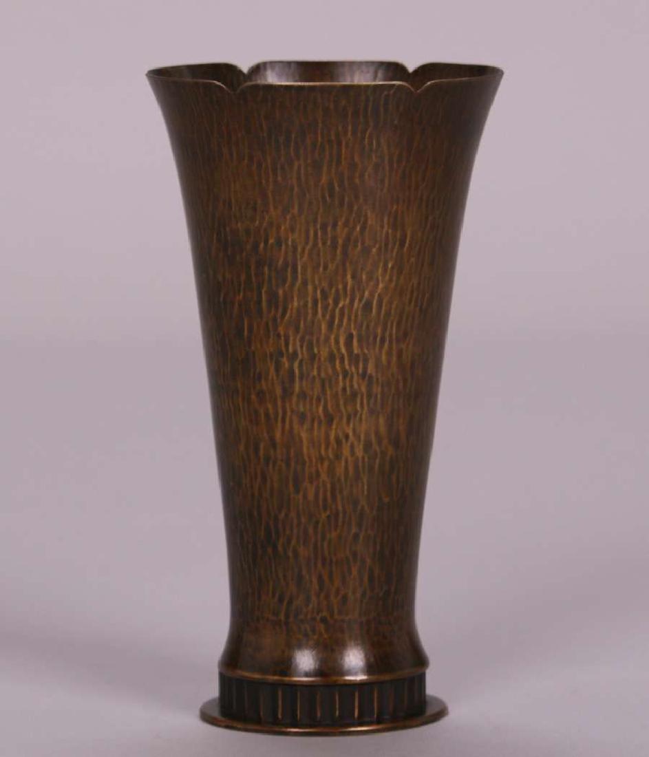Dirk van Erp Hammered Brass Flared Vase