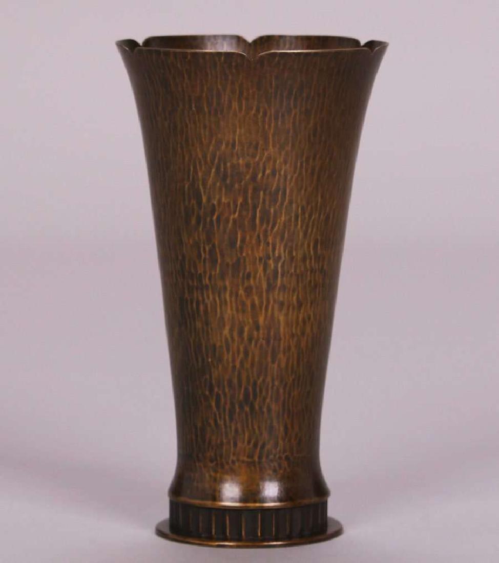 Dirk van Erp Hammered Brass Flared Vase - 2