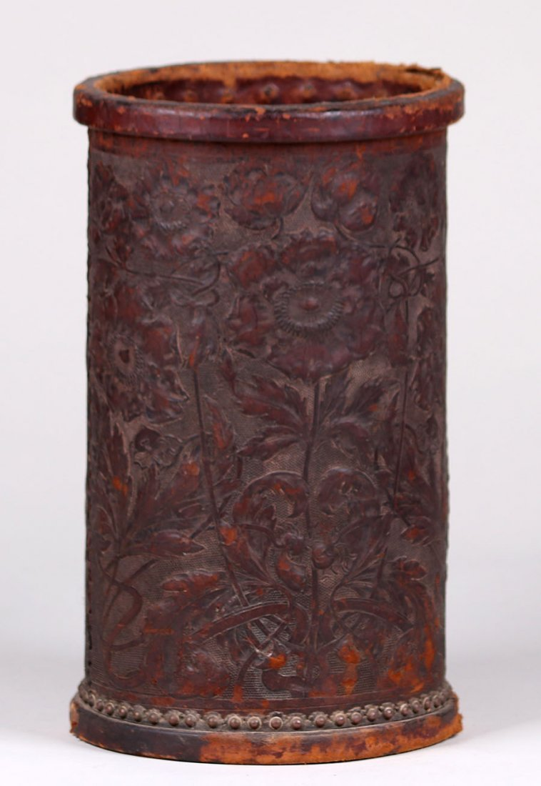 Arts & Crafts Tooled Leather Waste Basket c1910