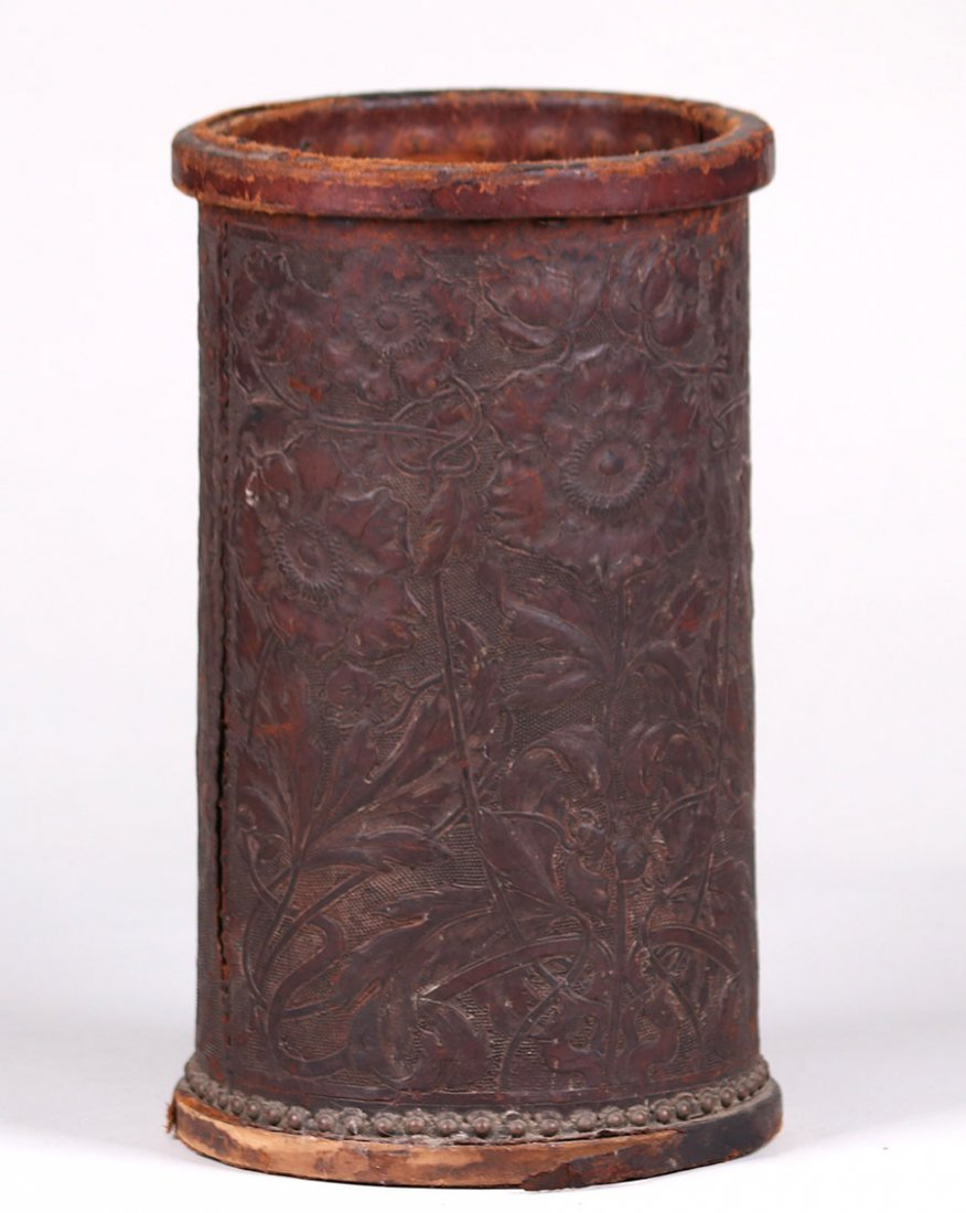 Arts & Crafts Tooled Leather Waste Basket c1910 - 2