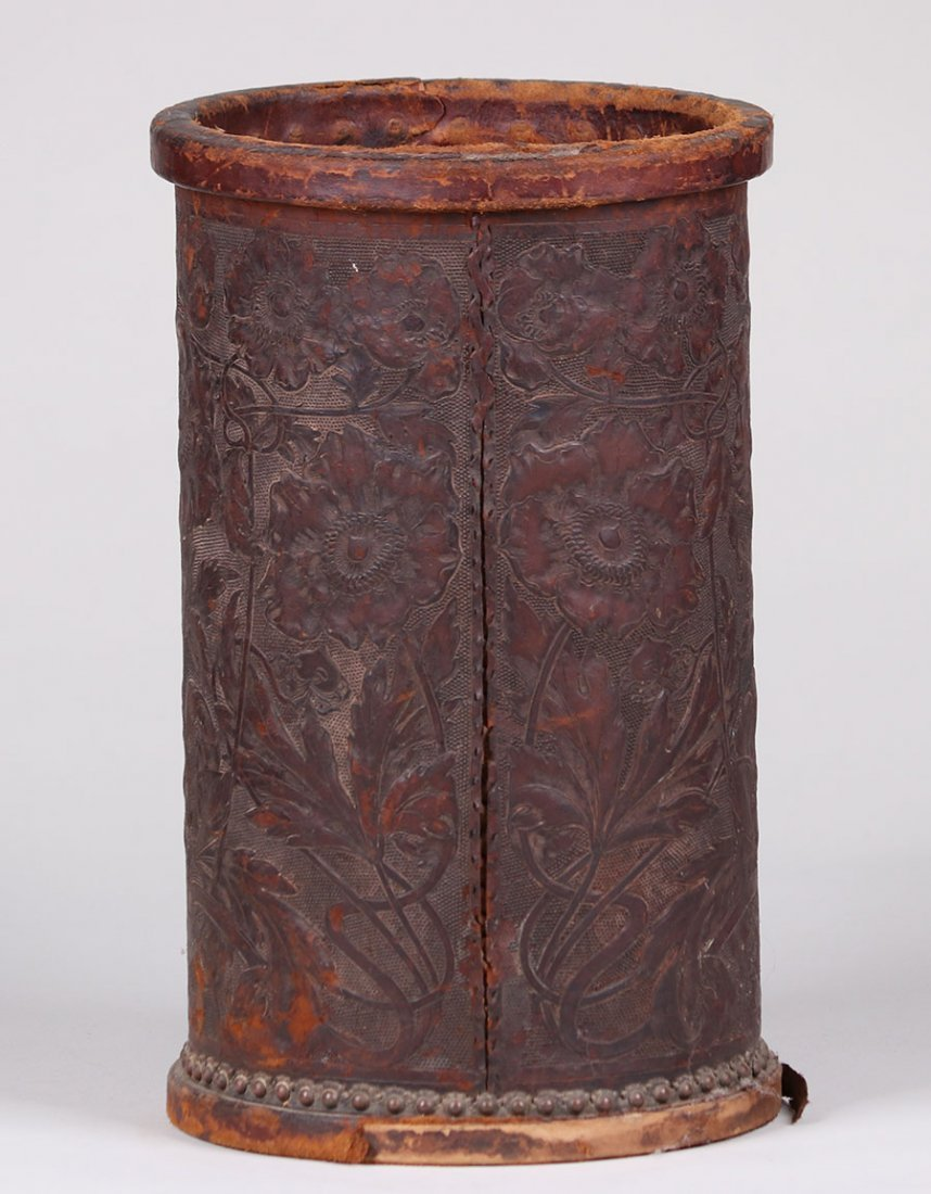 Arts & Crafts Tooled Leather Waste Basket c1910 - 3