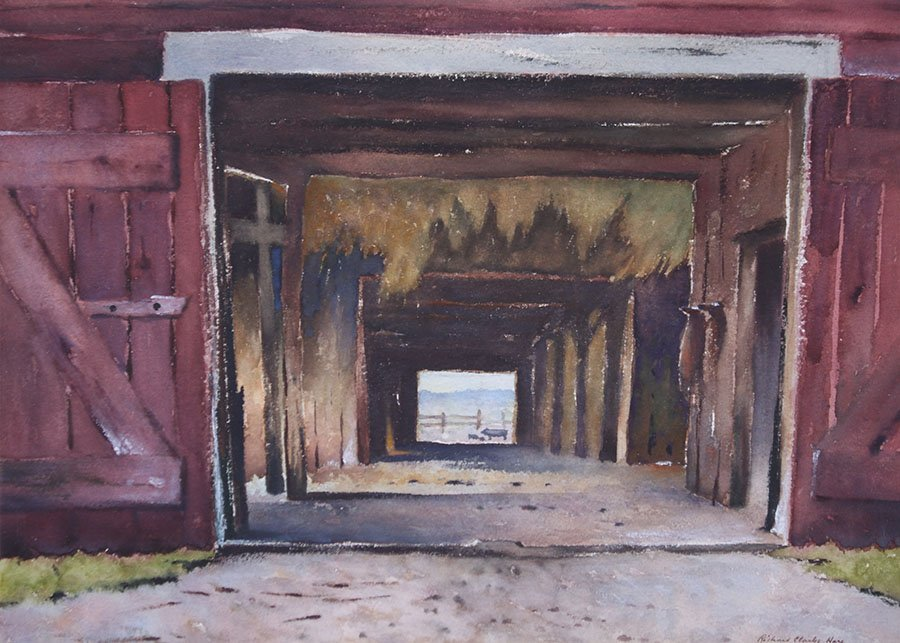 "Richard Clark Hare Watercolor ""Adirondack Barn"""