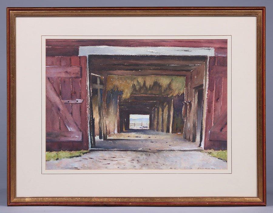 "Richard Clark Hare Watercolor ""Adirondack Barn"" - 2"