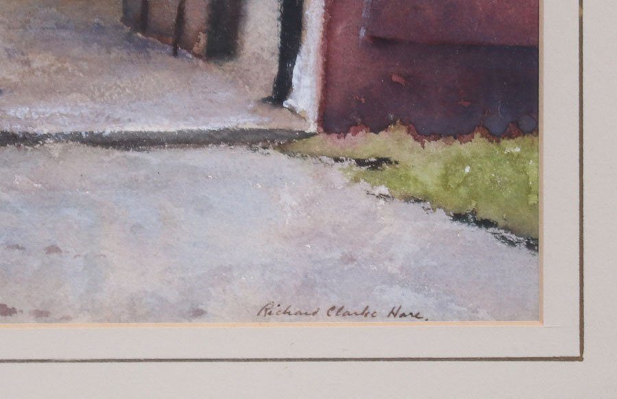 "Richard Clark Hare Watercolor ""Adirondack Barn"" - 3"