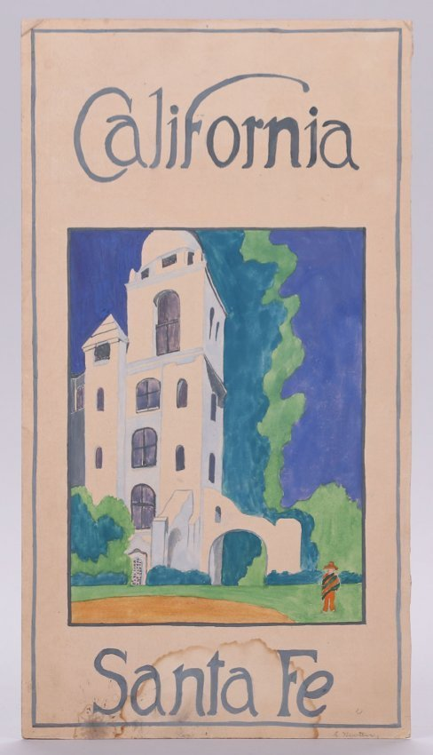 Lucile Newton California - Santa Fe Drawing c1910s