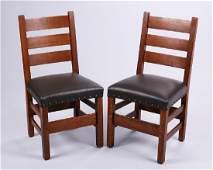 Pair Gustav Stickley 349 12 Ladder Back Side Chairs