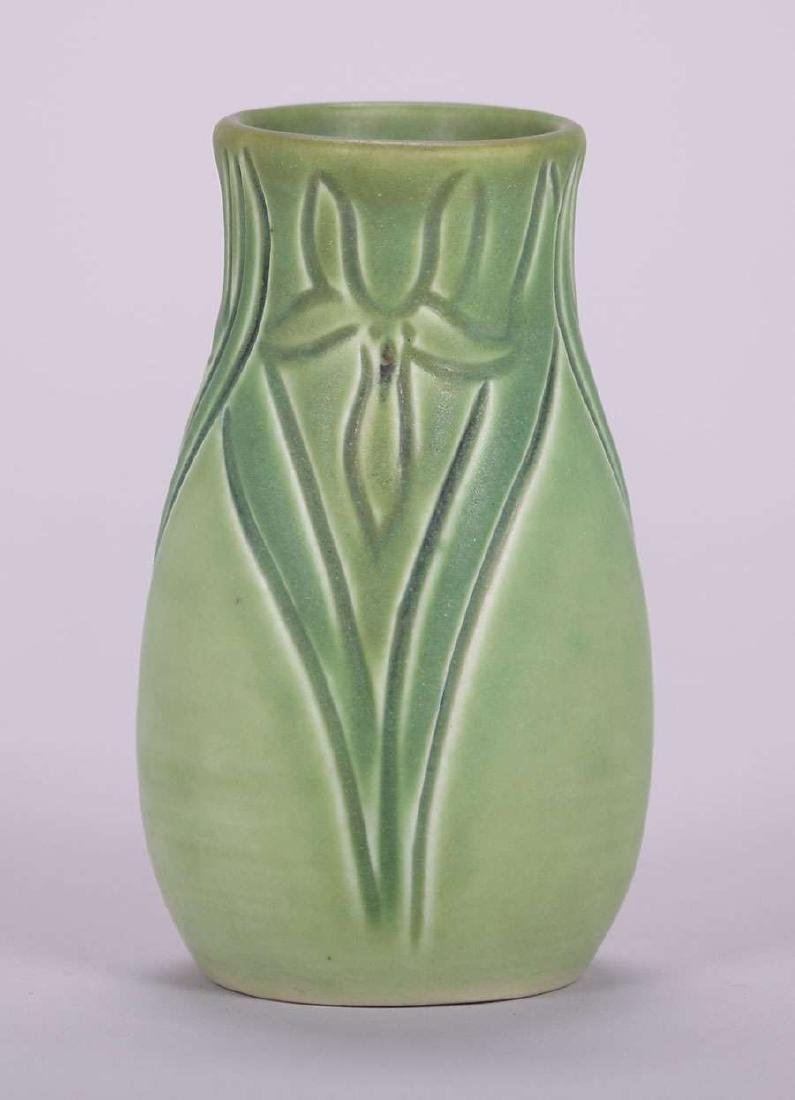 Rookwood Carved Matte Green Vase by Marie Rauchfuss