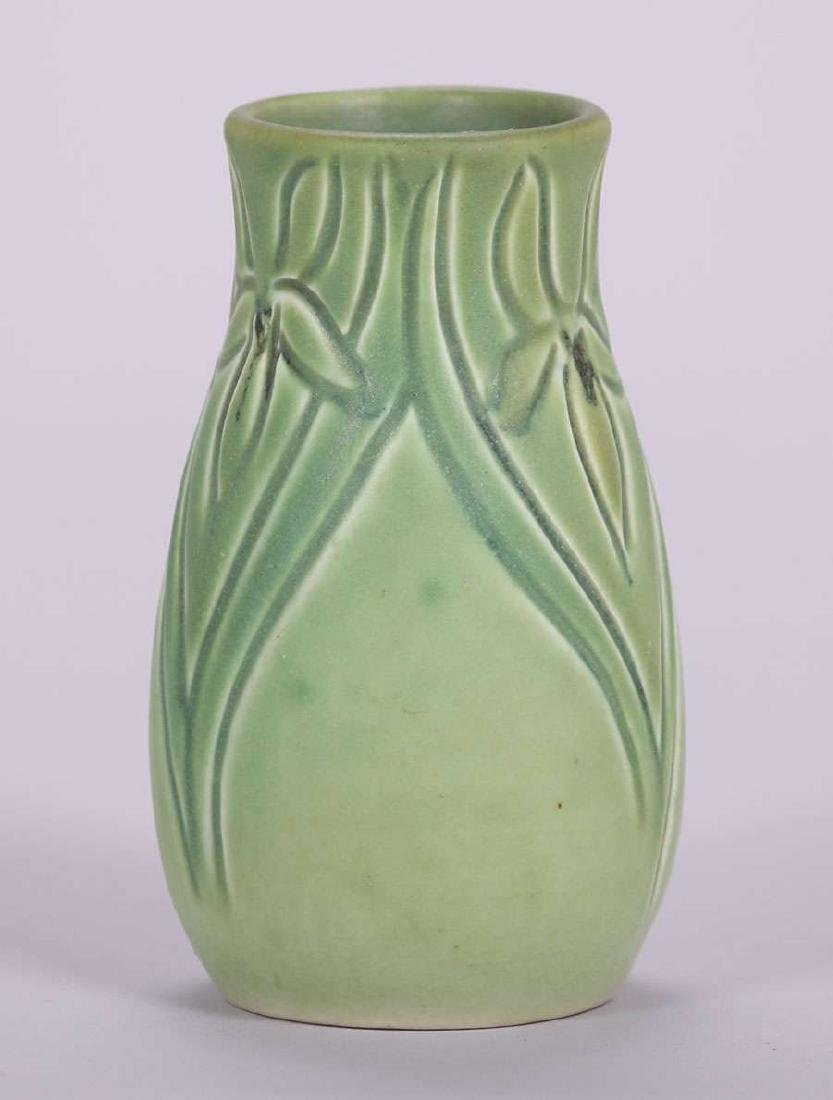 Rookwood Carved Matte Green Vase by Marie Rauchfuss - 3